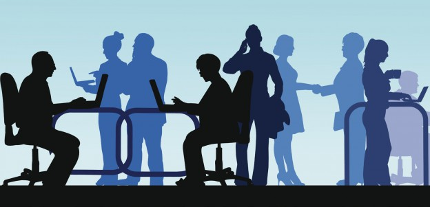 Business people in office silhouette